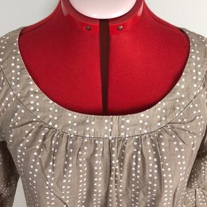 Ann Taylor Tops - Ann Taylor Taupe and White Dot size 4 Blouse